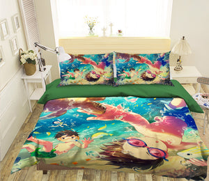 3D Boy Swimming 106 Anime Bed Pillowcases Duvet Cover Quilt Cover