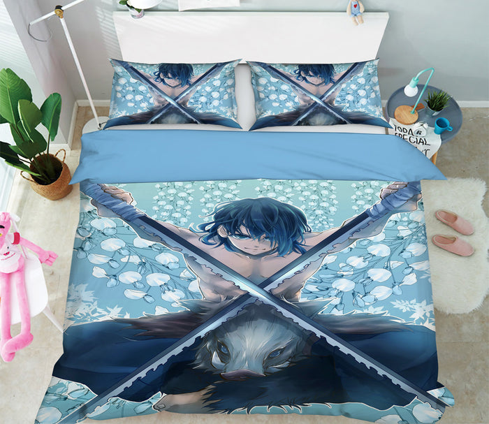 3D Kimetsu No Yaiba 2046 Anime Bed Pillowcases Duvet Cover Quilt Cover