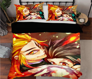 3D Kimetsu No Yaiba 1992 Anime Bed Pillowcases Duvet Cover Quilt Cover