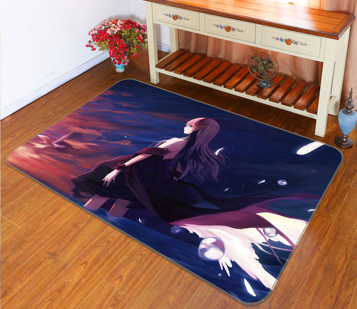 3D Bare Back Anime Girl 1409 Anime Non Slip Rug Mat