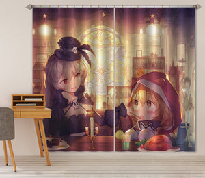 3D Chicken Cake Girl 322 Anime Curtains Drapes