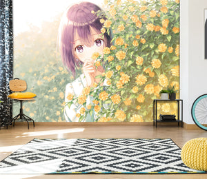 3D Flower Sea Aroma Girl 206 Wallpaper
