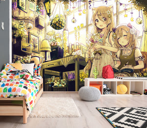 3D Bedroom Lantern Girl 203 Wallpaper