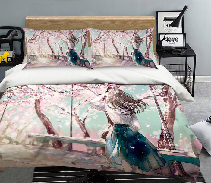 3D Cherry Blossom Girl 1937 Anime Bed Pillowcases Duvet Cover Quilt Cover