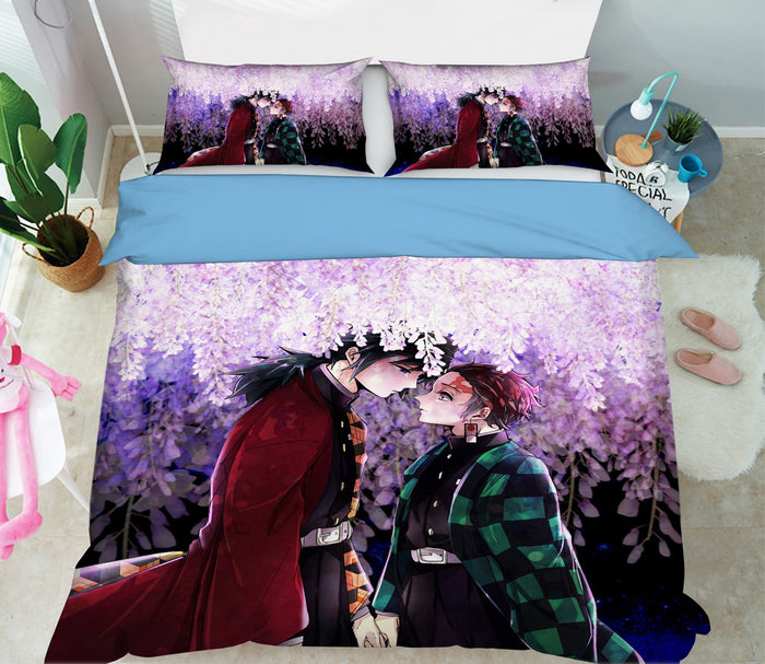 3D Kimetsu No Yaiba 1961 Anime Bed Pillowcases Duvet Cover Quilt Cover