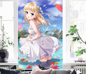 3D Girl River Petals 08 Wallpaper