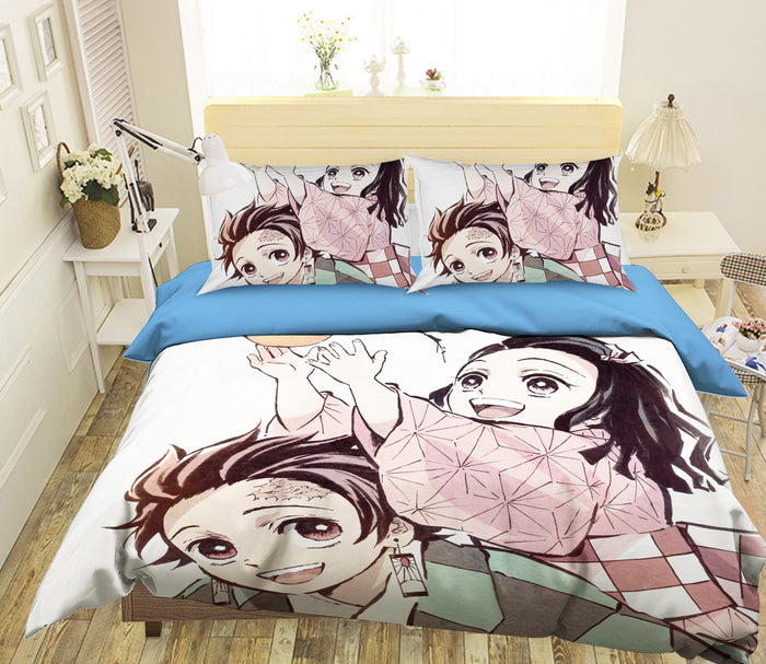 3D Kimetsu No Yaiba 2013 Anime Bed Pillowcases Duvet Cover Quilt Cover