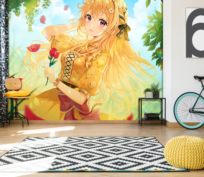 3D Sunshine Rose Tree Girl 216 Wallpaper