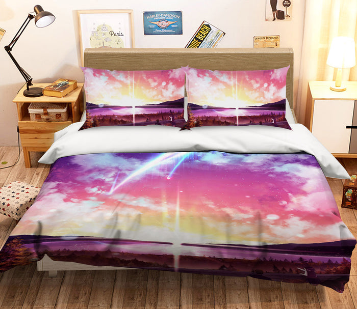 3D Your Name 704 Anime Bed Pillowcases Duvet Cover Quilt Cover