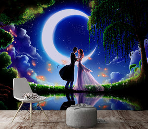 3D Moon Couple Kissing 208 Wallpaper