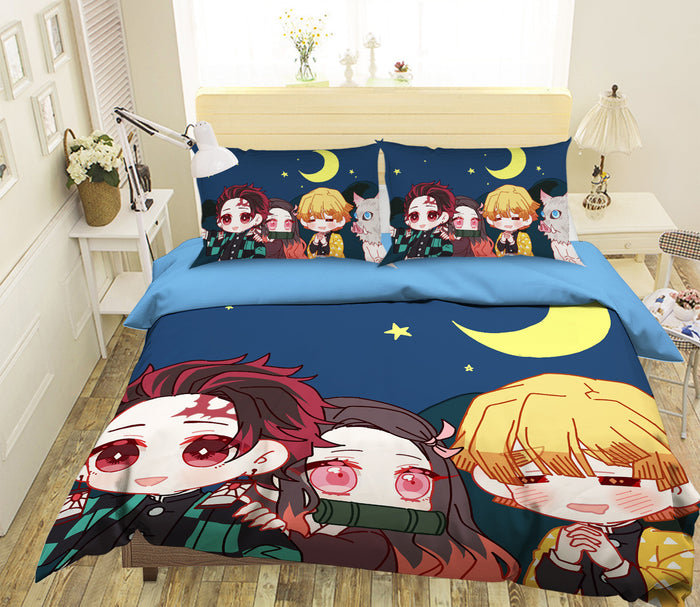 3D Kimetsu No Yaiba 1966 Anime Bed Pillowcases Duvet Cover Quilt Cover
