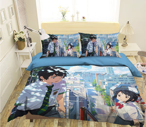 3D Your Name 085 Anime Bed Pillowcases Duvet Cover Quilt Cover