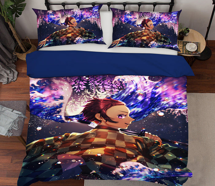 3D Kimetsu No Yaiba 1955 Anime Bed Pillowcases Duvet Cover Quilt Cover