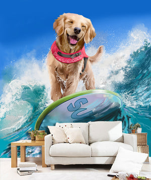 3D Dog Surfing 26 Wallpaper
