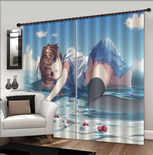 3D River Water Girl Petals 341 Anime Curtains Drapes