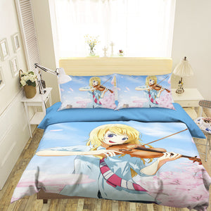 3D Your Lie In April 1766 Anime Bed Pillowcases Duvet Cover Quilt Cover