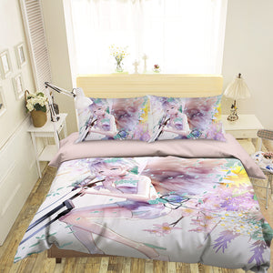 3D Girl Leaf Microphone 100 Anime Bed Pillowcases Duvet Cover Quilt Cover