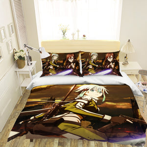 3D Sword Art Online 608 Anime Bed Pillowcases Duvet Cover Quilt Cover