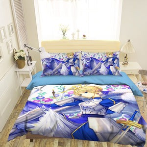 3D Fate Stay Night 774 Anime Bed Pillowcases Duvet Cover Quilt Cover