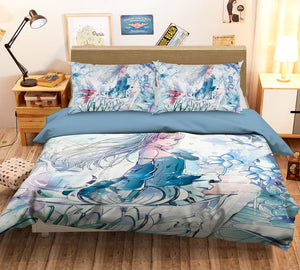 3D Flower Season Girl 243 Anime Bed Pillowcases Duvet Cover Quilt Cover