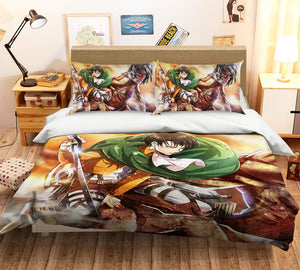 3D Attack On Titan 750 Anime Bed Pillowcases Duvet Cover Quilt Cover