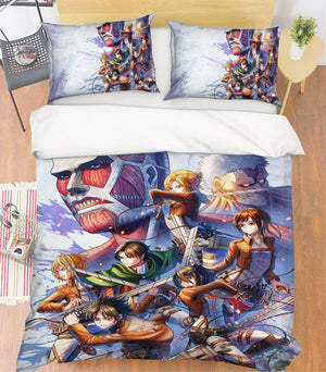 3D Attack On Titan 142 Anime Bed Pillowcases Duvet Cover Quilt Cover