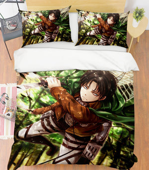 3D Attack On Titan 151 Anime Bed Pillowcases Duvet Cover Quilt Cover