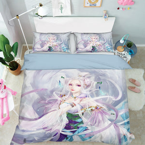 3D Woman Butterfly 098 Anime Bed Pillowcases Duvet Cover Quilt Cover