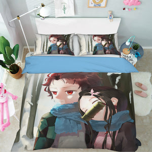 3D Kimetsu No Yaiba 1969 Anime Bed Pillowcases Duvet Cover Quilt Cover