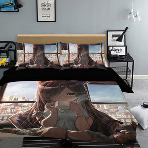 3D Girl Drinking Coffee 854 Anime Bed Pillowcases Duvet Cover Quilt Cover