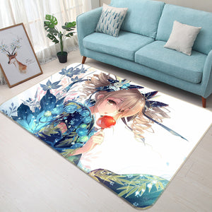 3D Flower Season Girl 1559 Anime Non Slip Rug Mat