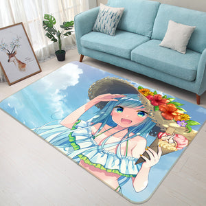 3D Flower Season Girl 1687 Anime Non Slip Rug Mat