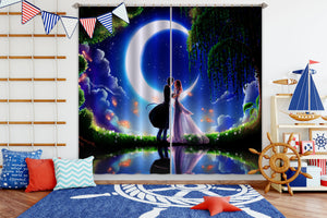 3D Moon Couple Kissing 336 Anime Curtains Drapes