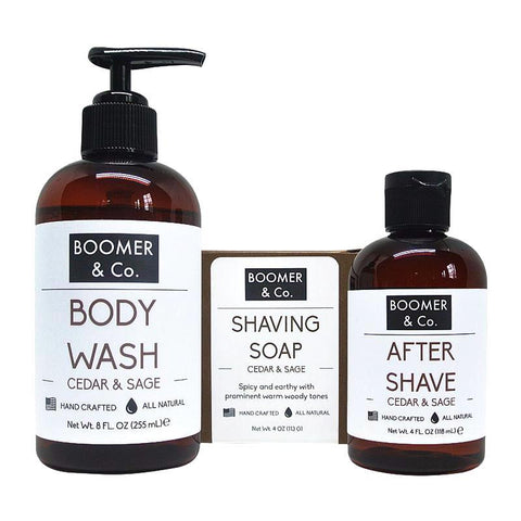 Cedar & Sage Men's Shave Kit - 100% all natural  organic-  green clean skincare, bath and body, beauty- BEAUT.E