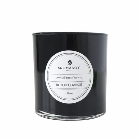 BLOOD ORANGE Soy Candle Black Glass 10 oz - 100% all natural  organic-  green clean skincare, bath and body, beauty- BEAUT.E