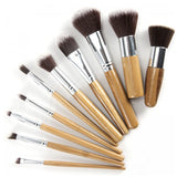 10 Piece Bamboo Brush Set - 100% all natural  organic-  green clean skincare, bath and body, beauty- BEAUT.E