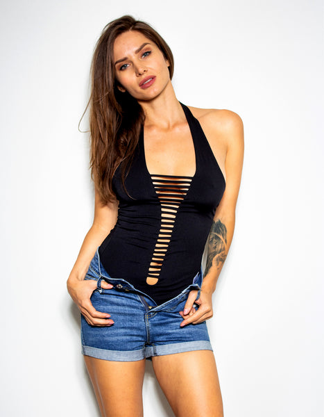Midnight Halter Bodysuit