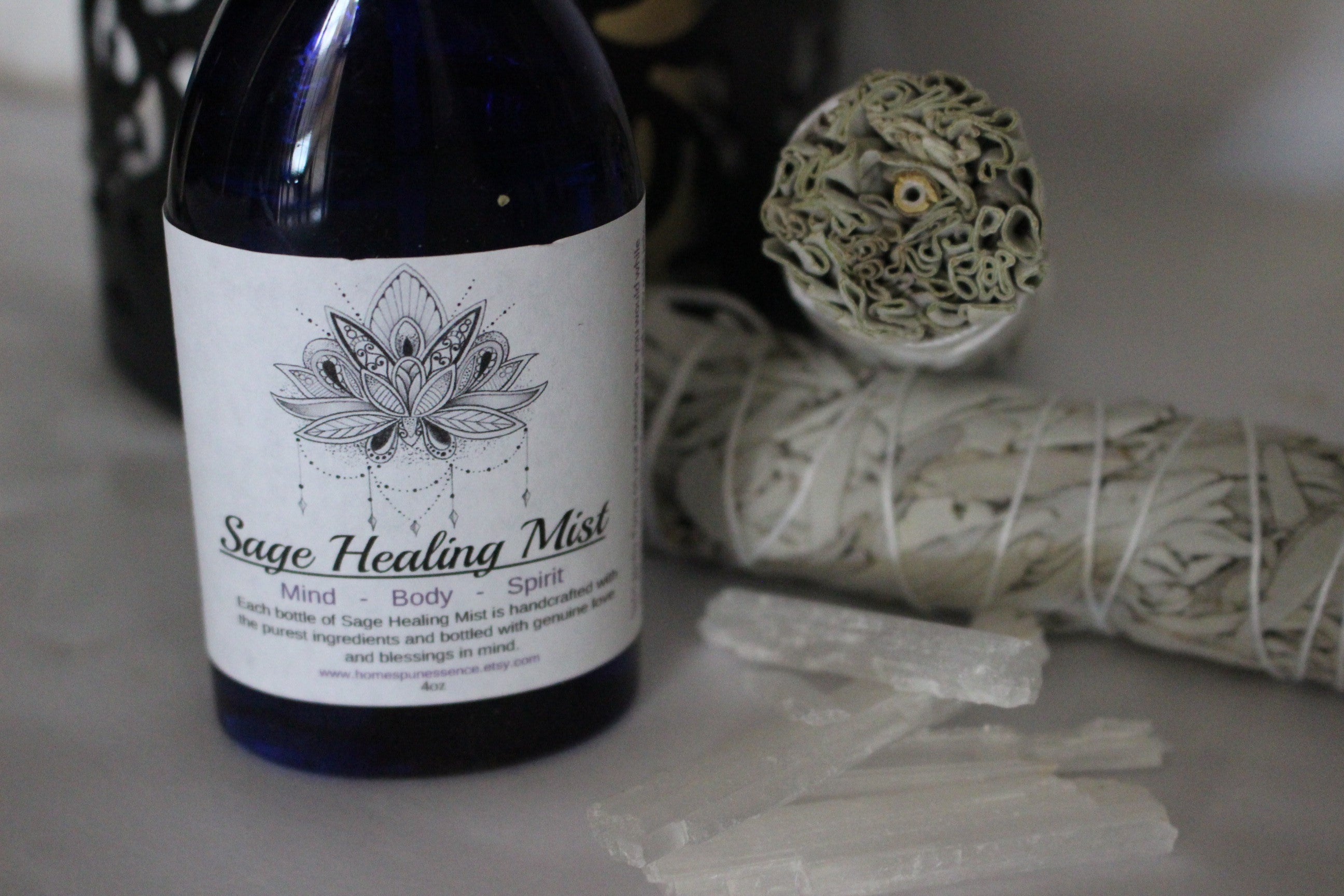 Smudge Spray, Smudge sticks, White sage smudge, Quartz crystals, Charged Crystals