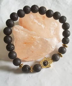 Hamsa Hand Aromatherapy Bracelet - Black and Gold-Sacred Soul Essentials