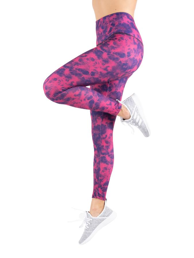 Womens Purple/pink Super Soft High Waist Tie Dye Legging