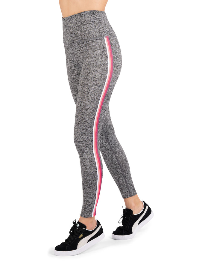 Womens Smoke with White/Coral/Pink Striping Super Soft High Waist Legging