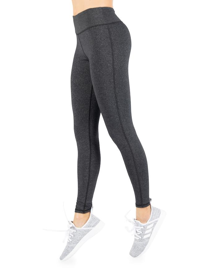 Womens Heather Grey Performance Yoga Legging with Hidden Pocket