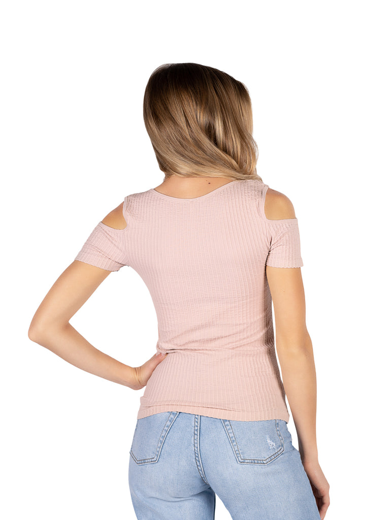 Love Charm Women S Seamless Rib Cold Shoulder Top In Blush