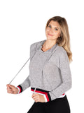 Womens Heather Grey Brushed Hacci Pullover Hoodie with Stripe Trim 2