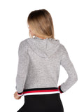 Womens Heather Grey Brushed Hacci Pullover Hoodie with Stripe Trim 4
