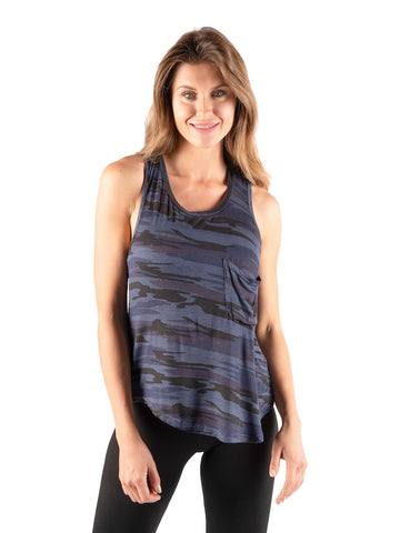 Womens Navy Camo Sleeveless Camo Printed Tank