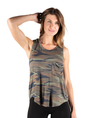 Womens Olive Camo Sleeveless Camo Printed Tank