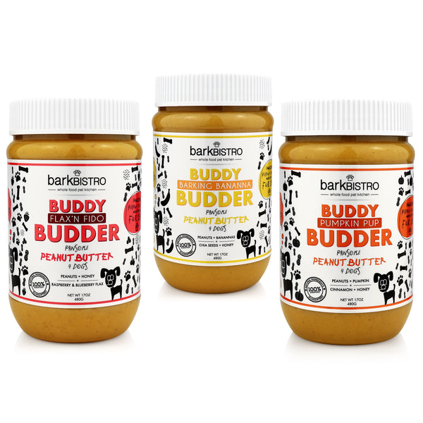 Pumpkin Pup + Flax'n Fido + Barkin' Banana BUDDY BUDDER (SET OF 3)