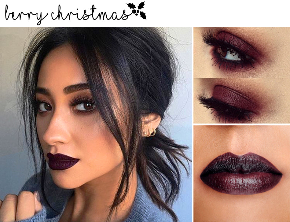 We absolutely love! this monochrome vampy berry makeup look. A super easy quick look to do, blend the dark berry all over the eye, swipe on a dark lipstick ...