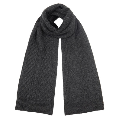 Men's Classic Charcoal Grey Cable Knit Scarf
